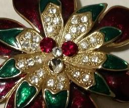 Vintage W Lind Flower Brooch Enameled Metal, Rhinestones-Signed-1960's FREE SHIP - $34.65