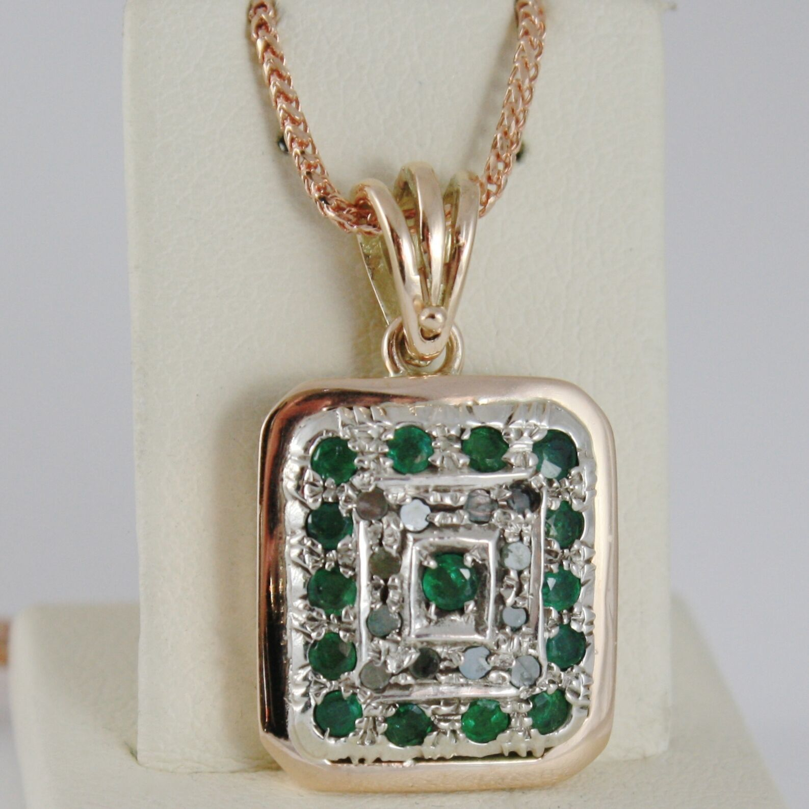 SOLID 18K ROSE WHITE GOLD MEDALLION DIAMOND EMERALD PENDANT NECKLACE WITH CHAIN