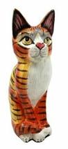 Balinese Wood Handicrafts Adorable Orange Tabby Feline Cat Purr Pet Figu... - $26.99