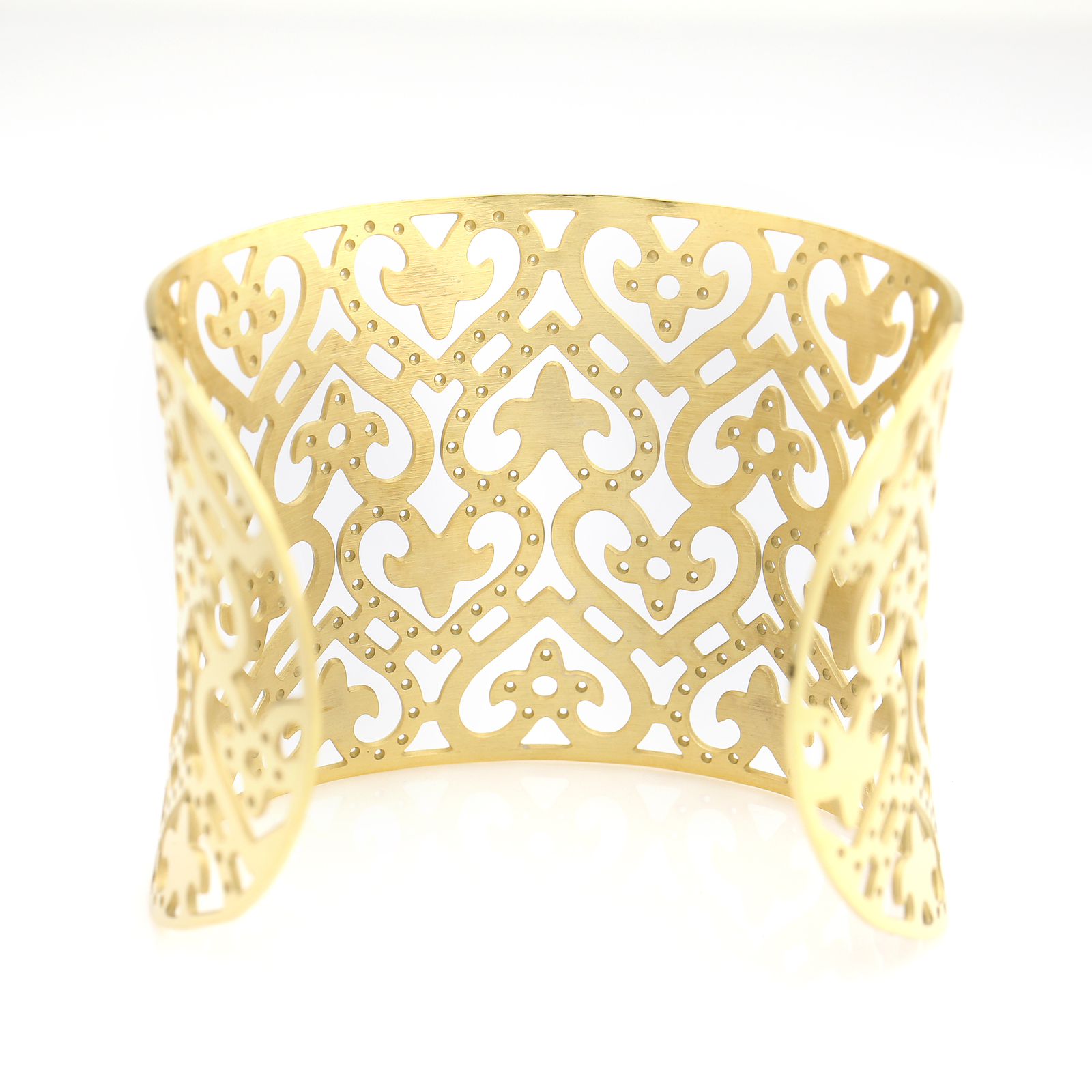 UNITED ELEGANCE Trendy Gold Tone Cuff Bracelet With Intricate Cut Out Design