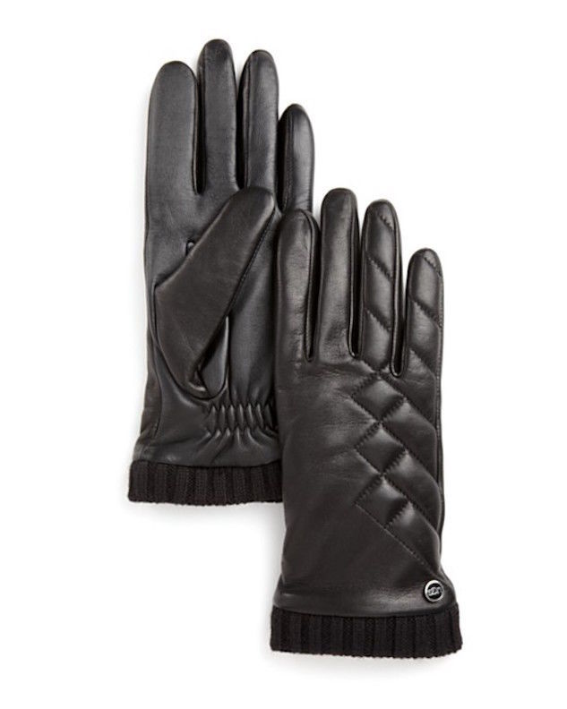 UGG Gloves Tech Dandylion Quilted Leather Med NEW $125