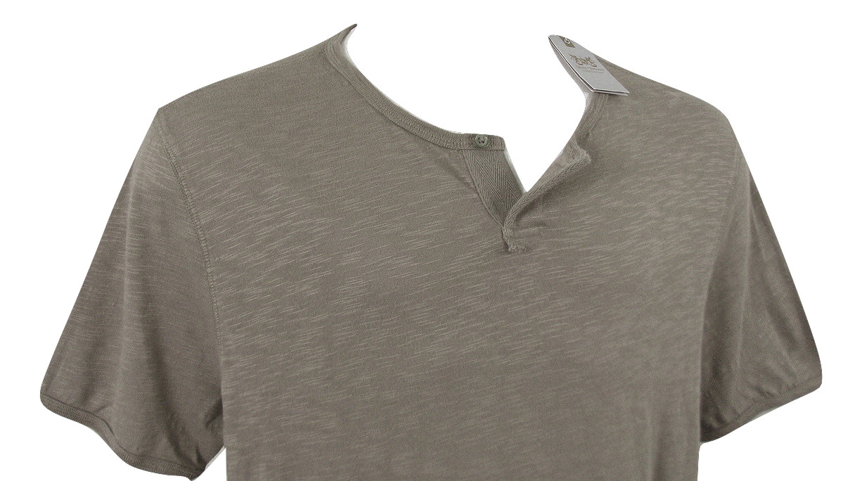 NEW! Hickey Freeman Sterling Collection Henley Shirt!   Brownish Gray - $39.99