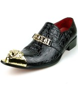Men's Fiesso Black Croco Print Patent Leather Pointed Metal Toe Shoes FI 7513 - $149.99