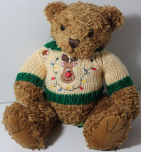 Cute FIRST & MAIN TUCKER CHRISTMAS BEAR Wearing RUDOLPH Sweater STUFFED ... - $14.84
