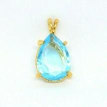 Blue Glass Teardrop Rhinestone Large Gold Tone Pendant - $19.79