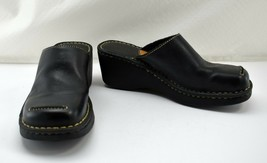 Born Black Leather Clog - Topstitched Toe Detail - Women's Slip On Shoes 7 M - $18.95