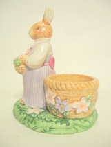 Female Rabbit Candle Holder Avon 2002 Ceramic Hand Painted Multi-colored... - $17.96