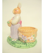 Female Rabbit Candle Holder Avon 2002 Ceramic Hand Painted Multi-colored... - $19.95