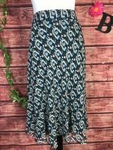 Anne Klein Skirt size 14 Teal Brown Silk Bias Knee A Line Modest Career ... - $29.97
