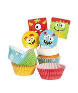 Bakery Supplies - Silly Monster Cupcake Picks and Baking Cups (1-Pack of 100) - $8.88