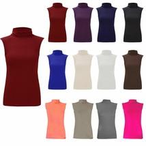 NEW WOMEN'S POLO NECK TOP LADIES SLEEVELES TURTLE HIGH NECK BODYCON TOP 8-26 - $6.47