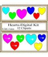 Hearts Digital Kit 1-Digtial Paper-Rose-Art Clip-Gift Tag-Jewelry-T shir... - $5.00