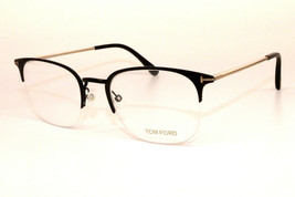 New Authentic Tom Ford TF 5452 002 Black Gold Eyeglasses 52-21-145 W/Case  - $157.41