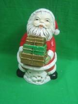 Christmas Santa Bank Ceramic or Chalk Ware Holding Gifts - $10.36