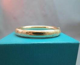 "Victorian Yellow Gold Filled Etched Bangle Bracelet Marathon 7.5"" Hinged... - $178.19"