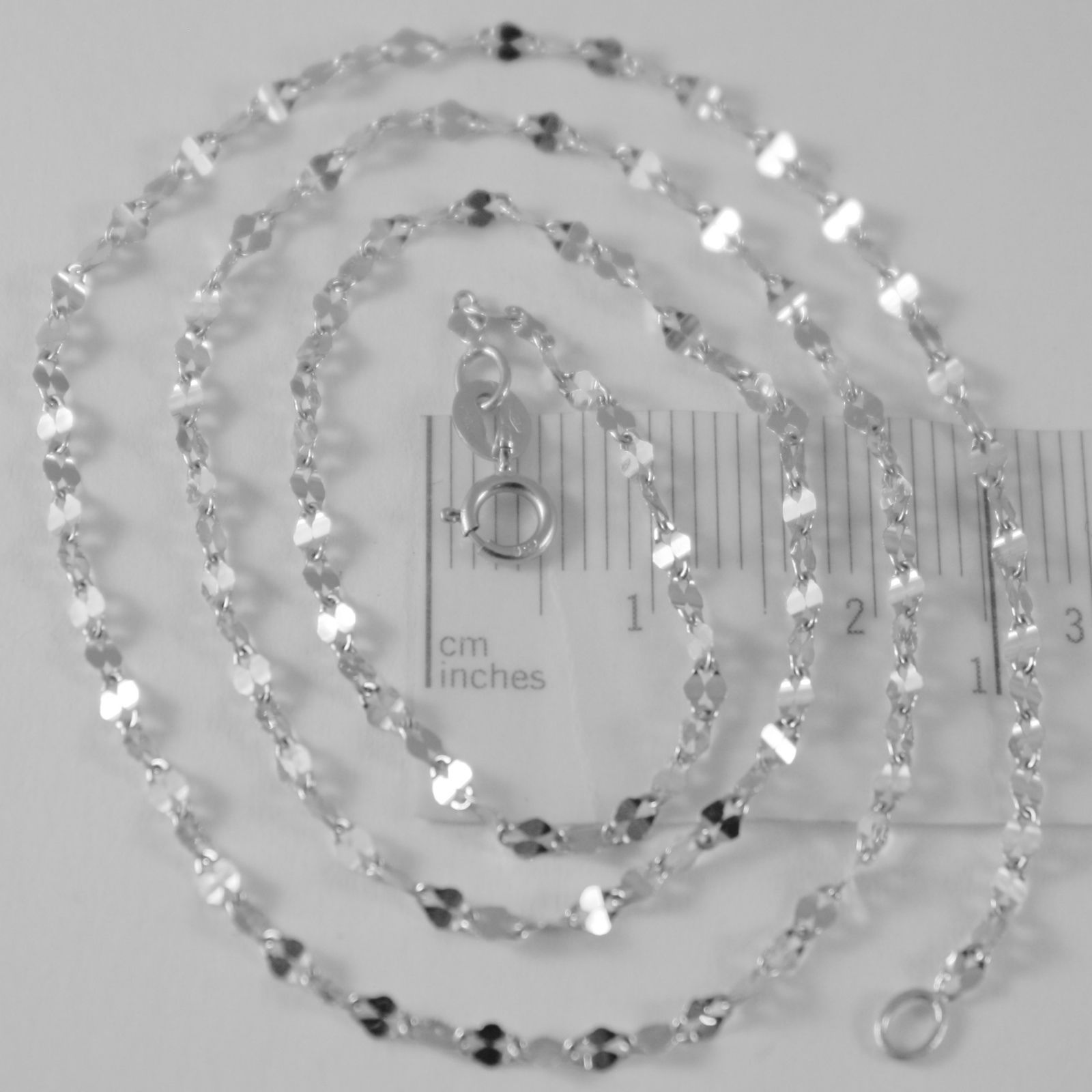 SOLID 18K WHITE GOLD FLAT BRIGHT KITE CHAIN 16 INCHES, 2.2 MM MADE IN ITALY