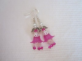 Handmade Fuchsia Pink Flower and Crystal Pearly Guardian Angel Silver Ea... - $6.65