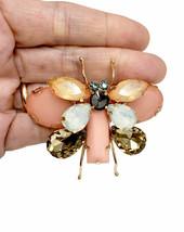 "2.75"" Wide Peach Fake Opal Rhinestones Statement Dragonfly Brooch Pin Hijab - $17.05"
