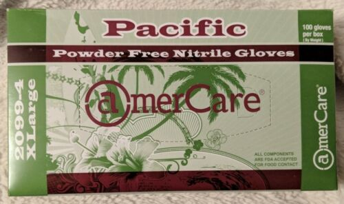 AmerCare Pacific Powder Free Nitrile Gloves X-Large 100 Gloves
