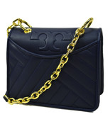Tory Burch Womens Navy Blue Quilted Alexa Foldable Should Bag Purse 8739-2 - $143.05