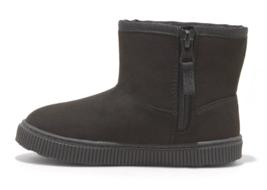 Cat & Jack Toddler Boys' Black Faux Leather Fur Arias Winter Zipper Ankle Boots image 2