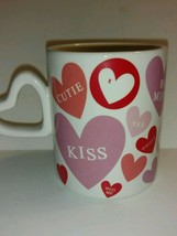 Collectible Coffee Mug Candy Hearts Messages Red Pink Purple Hallmark - tea - $22.76