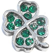 Four Leaf Clover With Stones Floating Locket Charm - $2.42