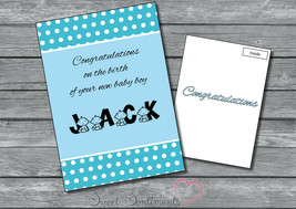 Personalised New Baby Card ,   Poka Dot Unique  - A5 Large Boy Or Girl - $3.81
