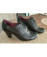 Women's Pikolinos Turin 7331 Lace Up Oxford Leather Heel Black Shoes Spa... - $95.00