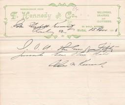 Memorandum from T. Kennedy & Co. 1906 Well Street Moffat Milliners Etc R... - $7.55