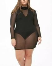 Forever 21 Sheer Mesh Turtleneck Black Sexy Dress Long Sleeve Plus Size ... - $12.75