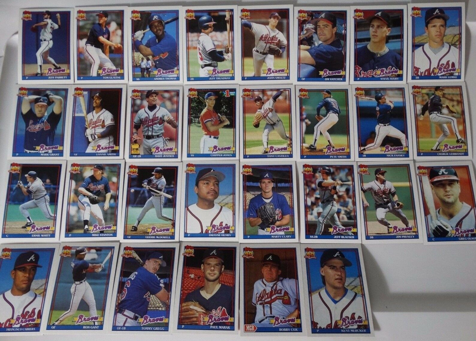 1991 Topps Atlanta Braves Team Set of 34 Baseball Cards With Traded image 2