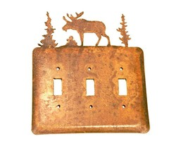 Moose Electric Tripple Toggle Metal Rusted Rustic Wall Plate Cover aprox... - $23.28