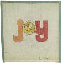 "Vintage Needlepoint Hand Painted Laurie Ann Original Designs ""Joy"" Canva... - $30.33"