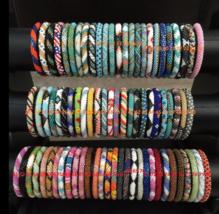 2 Set Of 10 Pc Nepal Rolls Glass Beaded bracelet crochet handmade bead USA Exact - $59.40