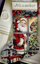 Dimensions Candy Cane Santa Window Tree Cross Stitch Stocking Kit Gold 8778 - $46.95