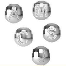 Swarovski LETTER Beads Crystal Bracelet Charm Pendant Chain Necklace Sta... - $14.86