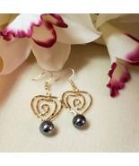 Spiral Heart Pearl earrings - $20.00