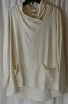 Logo lounge by lori goldstein Lrg knit top long sleeve shawl v neck Whit... - $27.71