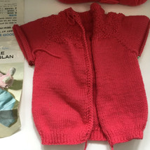 vintage partially finished knitted pink baby  claire raglan pattern swea... - $19.75