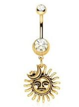 Belly Button Ring Surgical Steel Gold Plated Sun Moon Star Navel Ring 14... - $3.99