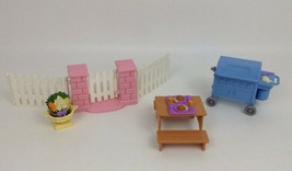 Fisher Price Loving Family Dollhouse Backyard BBQ Set Lot Grill Picnic T... - $30.64