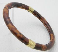 VTG Gold Tone Lucite Faux Tigers Eye Marbled Bangle Bracelet - $19.80