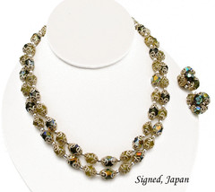 JAPAN Double Strand Necklace & Earrings Set AB Beads With Filigree Caps - $19.95