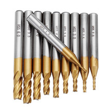10pcs Titanium Coating 1.5-6.0mm HSS 4 Flute End Mill Cutter 6mm Shank C... - $9.68