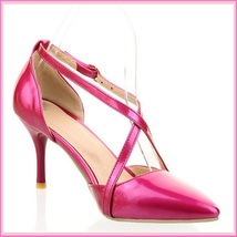 Low Spike Stilletto High Heels Criss Cross Strap Fire Pink PU Leather Sandals