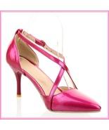 Low Spike Stilletto High Heels Criss Cross Strap Fire Pink PU Leather Sa... - $97.95