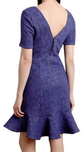 Anthropologie Marcelline Flounced Sheath Dress 12 Large Blue Jacquard Romantic - $83.30