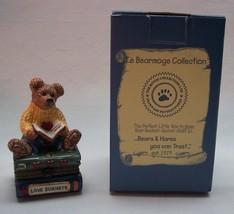 """Boyds Le Bearmoge 3"""" WILSON BEAR W/ LOVE SONNETS FIGURINE ON LITTLE BOX NEW - $19.80"""