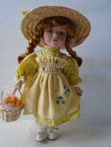 Charming Little Dorothy In Yellow Sun Dress and Straw Bonet. Very Good C... - $15.99